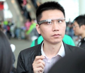 "A gentleman displaying the standard ""Im wearing Google Glass"" facial contortion."