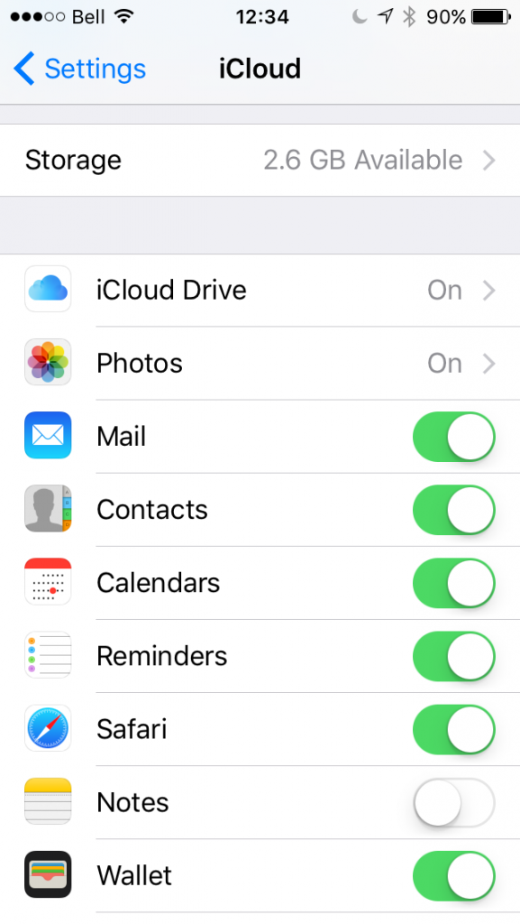 iCloud Settings Screen On iOS