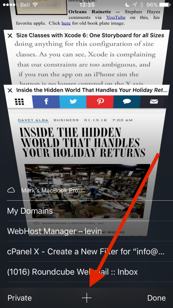 Mobile Safari - New Tab Button