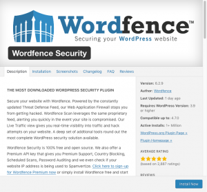 WordFence - Install Screen